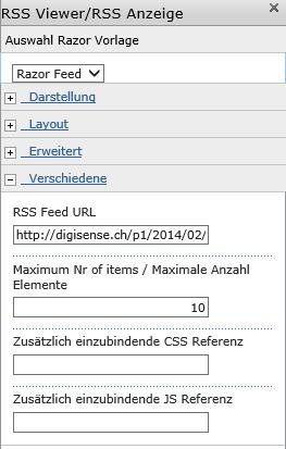 RSS Feed WebPart seven49 net Help